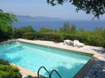 Photo for LA FAVIERE / GAOU BENAT - 3 bedroom villa with pool and SEA VIEW