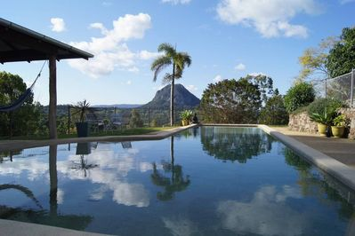Sunning pool and views to Cooroora Mount