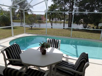 Private screened in pool with a lake view!