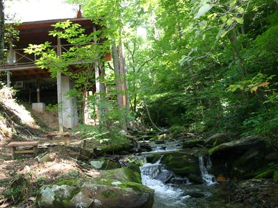 Photo for New Listing - Newly Renovated Log Cabin, Hot Tub, Roaring Creek out back door