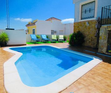 Photo for Modern Family Friendly House , Private Pool, Air Con, WiFi, Garden, UK TV.