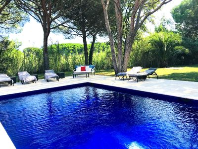 Photo for St Tropez, 6 Bedr Villa , 8 min from Club 55, heated private pool in 6000m2 gar