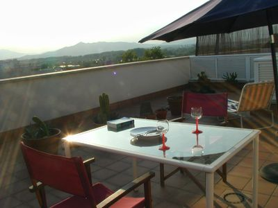 Photo for Sunny Girona City with roof garden and carpark & Pyreneese Beautiful view