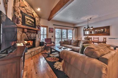 Main Level Great Room - Living Room, Dining Area and Kitchen - With Beautiful Hardwood Floors Throughout