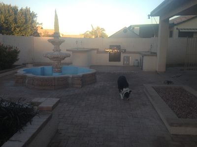 Backyard w/built in BBQ and hot tub