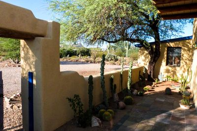 Looking out from the garden entrance to the surrounding desert.
