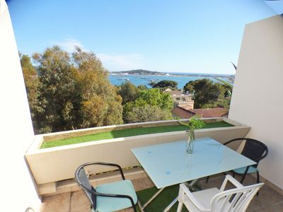 Photo for Superb sea view, on the last floor with elevator, residence with swimming pool