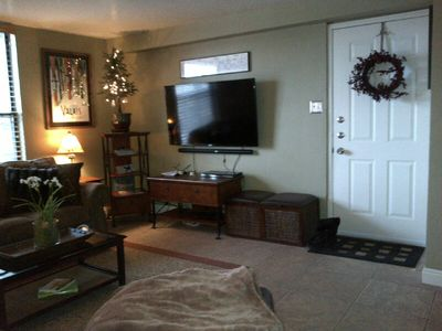 """Living room with 55"""" HDTV"""