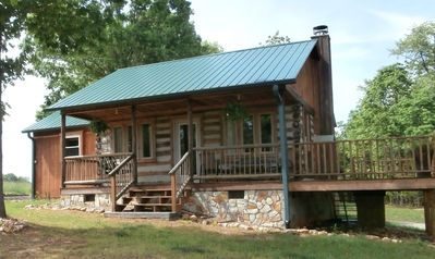 Photo for Handmade Private Log Cabin on 73 Wooded Acres