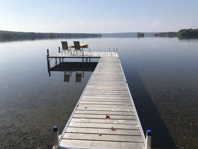 New Dock. 5' deep at end of the dock and 12' at the swim raft.