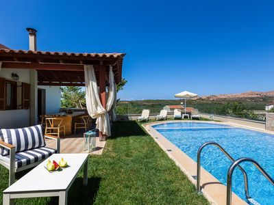 Photo for Kampos Villa III, 50m2 heated swimming pool, BBQ facilities, Ping-pong table!