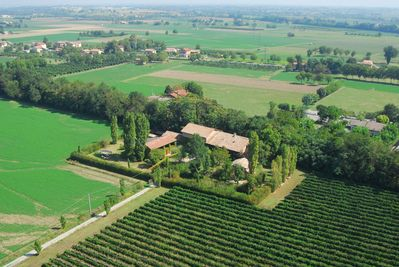 aerial view of property. 'La Barchessa, renovated barn' is the one on the left.