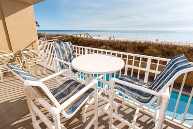 Nothing like these convenient first floor Gulf views!!! - Top of the line bistro height PVC balcony furniture for your enjoyment!