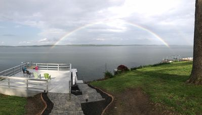 Beautiful rainbow from walk out deck.