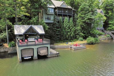 Breathtaking Drone View of the Boathouse, Swim Dock, and Home