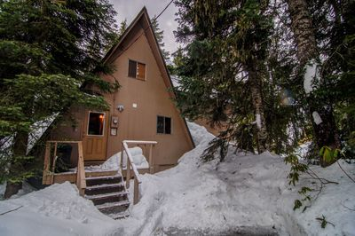 Alpine Hideaway in Winter - Cozy a-frame built in the 1960's tucked away in an alpine setting, walking distance to Government Camp and Ski Bowl East.