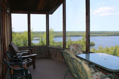 Looking north across Moose Lake in the BWCAW and Canada; large screen porch