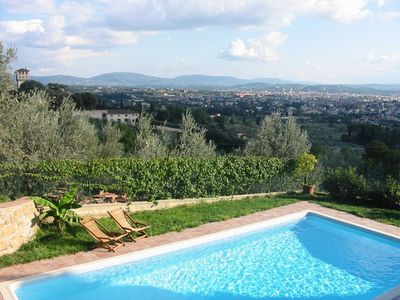 The swimmingpool with views overlooking Florence