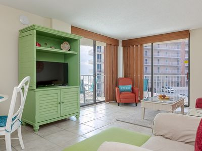 Photo for Spacious Condo with Gulf views, Private Balcony, well Equipped Kitchen, Community Pool, Sleeps 8!