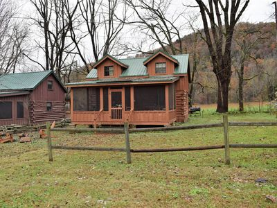 Photo for New Listing!! Rustic 2 bedroom cabin, Wood burning Fireplace & outdoor bonfire. PET FRIENDLY