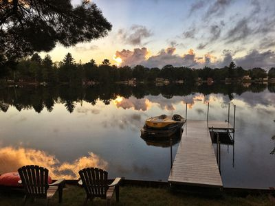 "Photo for Waterfront Cottage on Private ""Farmer"" Lake, Sleeps 10, Swim, Fish, Boat, ATV"