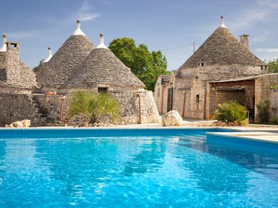 Photo for Luxury Trullo, Private 10m x 5m FENCED Pool. Wi-Fi, Table Tennis, Pizza Oven