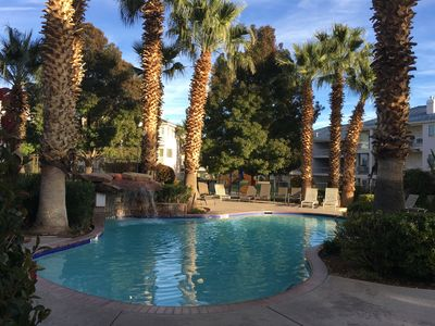 Photo for Cute & Clean Poolside Condo. Updated Spacious 2BR/2BA w/ pool walkout