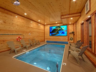 Photo for Brand New Luxury Cabin with Private Indoor Pool and Theater