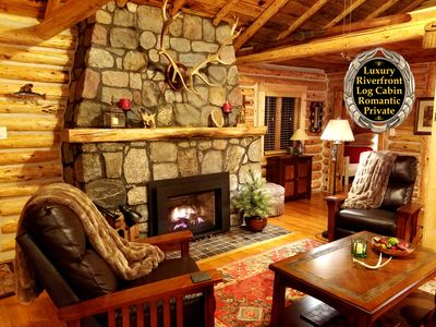 Photo for Luxury Riverfront Log Cabin - SIMPLY MAGICAL - Romantic Getaway