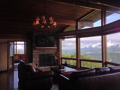 Great room with two full size sofas and 50' TV. All with mtn views into TN & VA