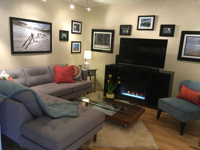 Colorado Themed Living Room with Entertainment Center and Electric Fireplace