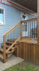 Wide stairs and a sturdy banister are helpful tools for getting to Casa Dumont