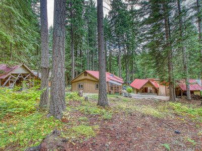 Photo for Two rustic cabins w/ private hot tub - dogs welcome, near Lake Wenatchee!