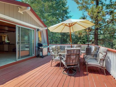 Photo for Rustic home with huge deck, gas grill, and beautiful forest views!