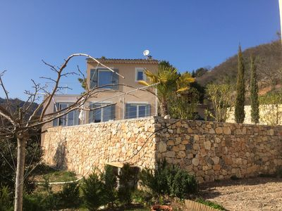 Photo for At 10 Km from Menton, magnificent sea view New villa with pool at the gates of the sea