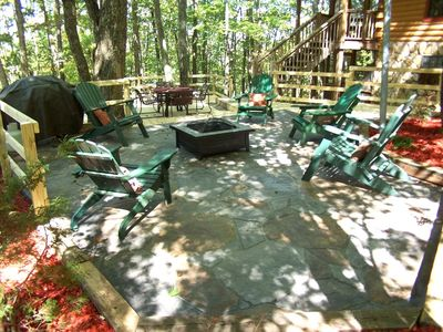 Enjoy the new fire pit area & spacious deck with dining area & picnic table!