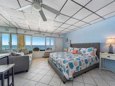 Photo for New! Updated, modern beachfront studio w/private balcony views. Pool, Free WiFi!