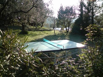View from ping-pong table to pool