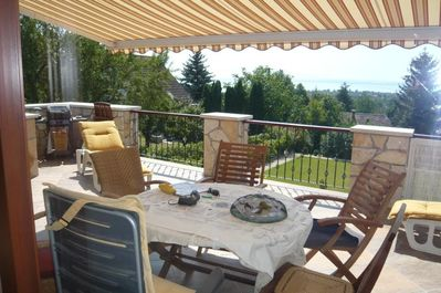 Large 30M2 front terrace off lounge. Amazing views, across the lake to Tihany+++