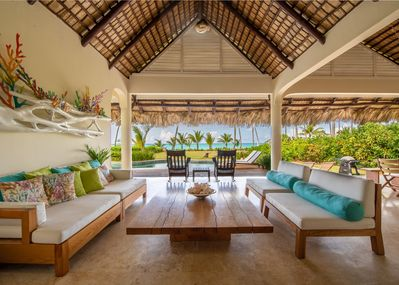 Exterior living room with ocean view