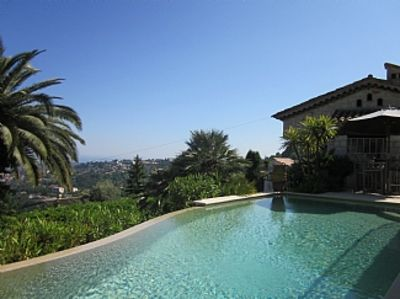 Photo for Magnificent views of the Mediterranean and Provence with private pool. Vence