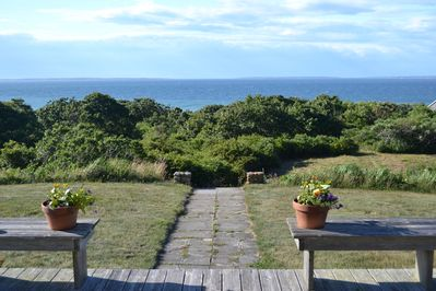 View from deck; path to private beach