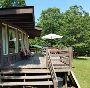 relax while grilling on the spacious deck out front