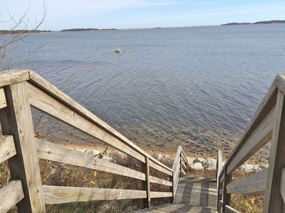 These steps off the deck lead to a rock revetment