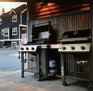 parking lot and grills right outside