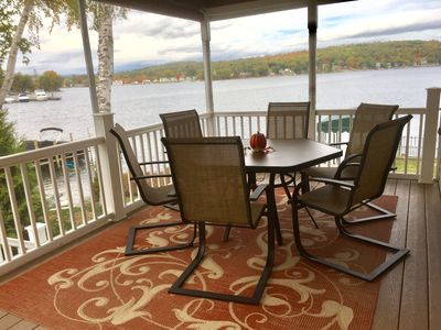 Enjoy the breathtaking view while you dine in the comfortable porch that seats 6