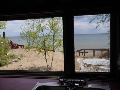 View of Lake Michigan and Sand Beach from the Kitchen area in the Log Cabin.