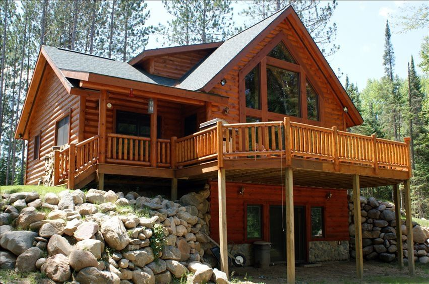 Beautiful Log Cabin Plans with Wrap Around Porch Using Sliding ...