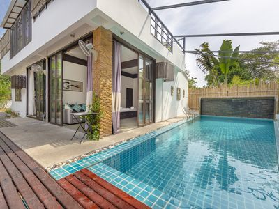 Photo for 3 Bedroom Stunning Two-story Private Pool Villa . Walk to the beach!