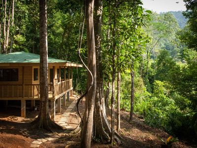 Photo for Jungle cabin with mountain valley view, private road and river, 4WD required!